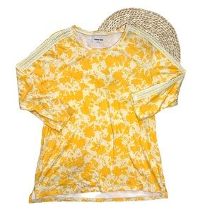 Lands' End Yellow Floral Long Sleeve Shirt Size L